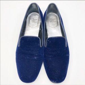 Roger Vivier Blue Suede Velvet Loafers Flat